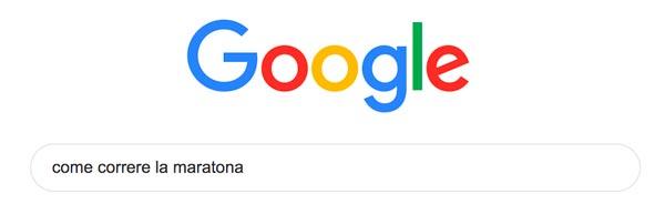 barra di ricerca google con query su maratona