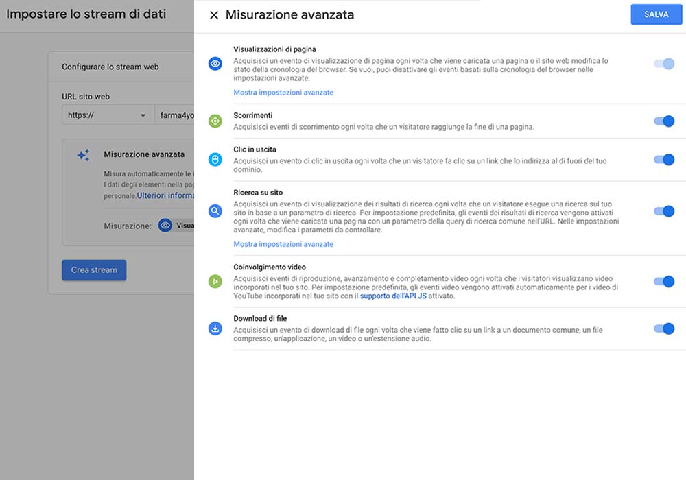 impostare stream dati in google