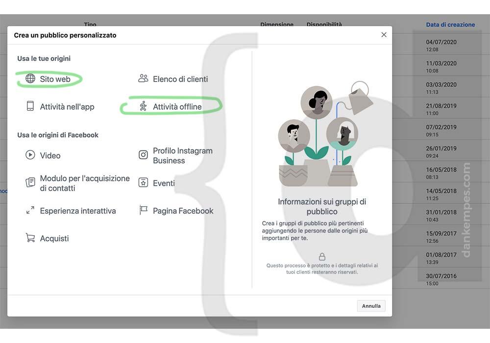creare pubblico personalizzato in facebook